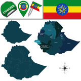 Map of Ethiopia with Named Regions Stock Image