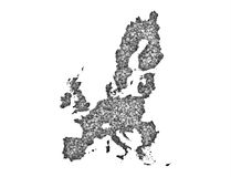 Map of the EU on poppy seeds. Colorful and crisp image of map of the EU on poppy seeds Stock Photography