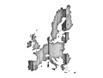 Map of the EU on weathered wood Royalty Free Stock Images