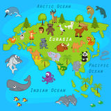 Map of Eurasia with animals Royalty Free Stock Photo
