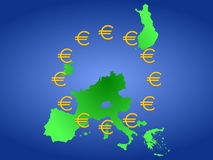 Map of Euroland Stock Photo