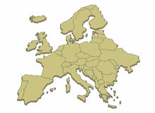 Map of Europe. Map of the European continent and its countries stock illustration