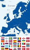 Map of europe. Abstract map of europe continent with countries flags Royalty Free Stock Image