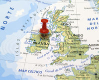 Map of Europe. In first plane with red thumbtack Royalty Free Stock Image