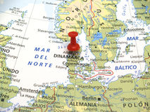Map of Europe. In first plane with red thumbtack Royalty Free Stock Photo