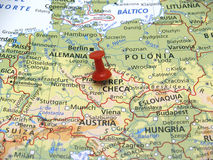Map of Europe. In first plane with red thumbtack Royalty Free Stock Photos