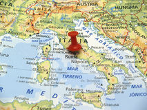 Map of Europe. In first plane with red thumbtack Royalty Free Stock Photography
