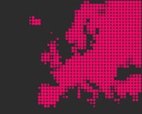 Map of Europe. In pink dots Stock Illustration