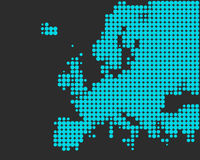 Map of Europe. In light blue dots Vector Illustration