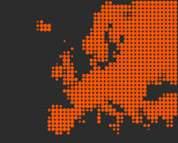 Map of Europe. In orange dots on gray Vector Illustration