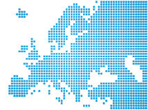 Map of Europe. Abstract map of the Europe made of blue boxes Royalty Free Stock Image