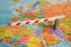 Map of europe and africa. Barrier between europe and africa stock photo