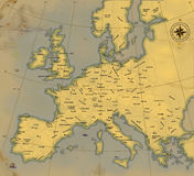 A map of Europe is in age-old style Royalty Free Stock Images