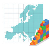 Map of Europe and Bar Chart Royalty Free Stock Image