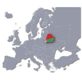 Map of Europe with Belarus Stock Photography