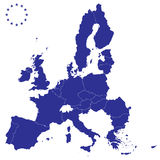 Map of Europe. Blue map of European Union Stock Photo