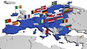 Map of Europe in Blue with Flags Stock Image