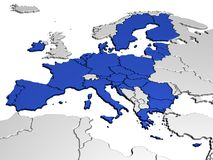 Map of Europe in Blue Royalty Free Stock Photo