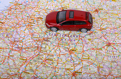 Map of Europe and car. Map of Europe and red car toy Stock Photo