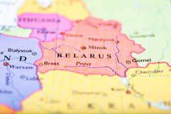 Map of Europe centered on Belarus. Close-up of colored map of Europe zoomed in on Belarus Royalty Free Stock Photography