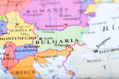 Map of Europe centered on Bulgaria Stock Images