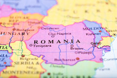 Map of Europe centered on Romania Stock Photos