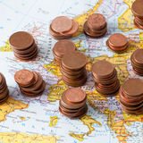 Map of Europe with coins Stock Images