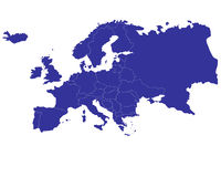 Map of Europe with countries outlined Royalty Free Stock Photos