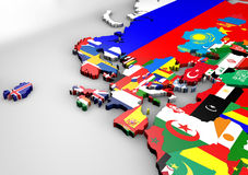 Map of Europe with 3d textures flags. Political map of Europe with 3d texture flags Stock Image