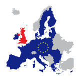 Map of Europe with European Union members and red Great Britain. / United Kingdom, vector illustration of brexit Stock Photos