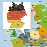 Map of Europe and Germany. Original map of Europe and Germany Royalty Free Stock Image