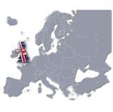 Map of Europe with Great Britain Royalty Free Stock Photos
