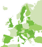 Map of Europe in green. Color coded map of the Europe Royalty Free Stock Images