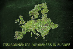 Map of europe with green grass, concept of environmental awarene Royalty Free Stock Photo