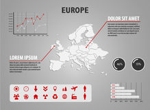 Map of Europe - infographic illustration with charts and useful icons Stock Photos