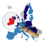 Map of Europe with Ireland in red Stock Images