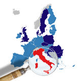 Map of Europe with Italy in red Royalty Free Stock Images