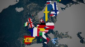 Map of Europe, member countries fall into place by join date, flags, 3D vector illustration