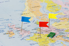 Map of Europe and checkboxes. Map of Europe and multicolored checkboxes Stock Photos