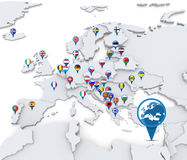 Map of Europe with national flags Stock Photos