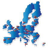 Map of Europe with pointers of capital Royalty Free Stock Photography
