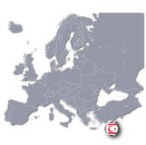 Map of Europe with Republic Northern Cyprus Royalty Free Stock Photo