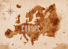 Map Europe retro. Map of Europe in old style in vector format, brown graphics in a retro style Royalty Free Stock Photos