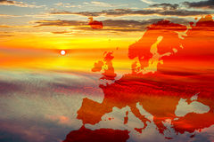 Map of Europe on sky. Map of Europe on sunset sky background Stock Image
