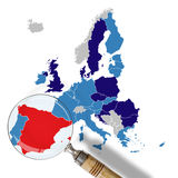 Map of Europe with Spain in red Stock Photos