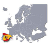 Map of Europe with Spain Royalty Free Stock Photos
