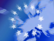 Map of europe with stars Royalty Free Stock Photos