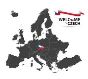 Map of Europe with the state of Czech Republic. Vector illustration of a map of Europe with the state of Czech Republic in the appearance of the Czech flag and Royalty Free Stock Image