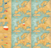 Map of Europe - summer style set 3. File is bitmap graphic. Big maps have 2500 x 2000 px in the largest available licence Stock Image