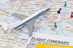 Map of europe and toy airplane. Royalty Free Stock Photo